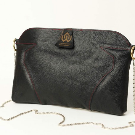 black leather clutch bag - hope