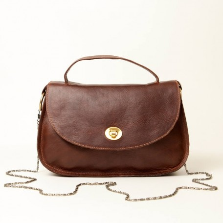 classic leather top handle and shoulder bag - lorla brown