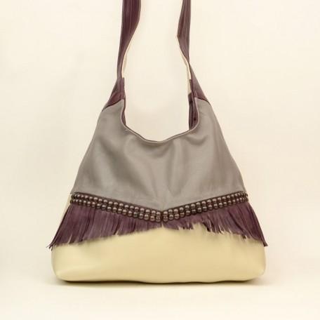 cross body leather shoulder bag - faith grey