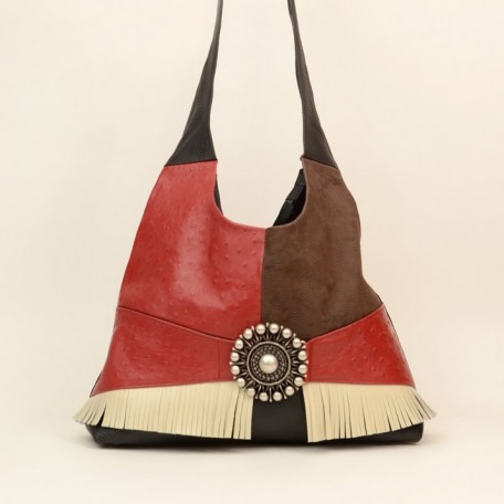 cross body leather shoulder bag - faith red