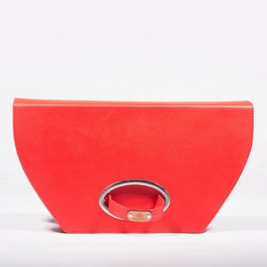 Leather Structured Clutch Bag – Emma Red