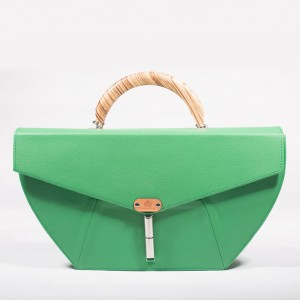 Leather Structured Top Handle Bag – Freda Green