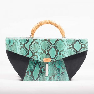 Leather Structured Top Handle Bag – Jade Python