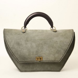 Leather Structured Top Handle Bag – Louisa Grey