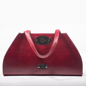 Leather Structured Top Handle Bag – May – Claret