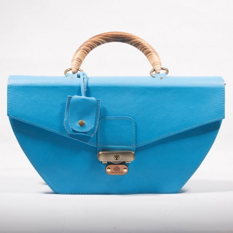 leather structured top handle bag - tiggy blue