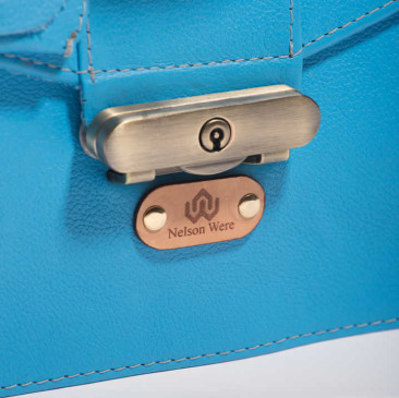 Leather Structured Top Handle Bag - Tiggy Blue - Antique Brass Lock