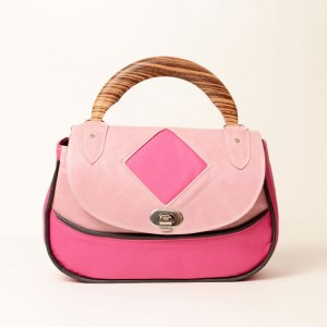 Leather Zebrano Wood Top Handle Bag – Lorla Pink