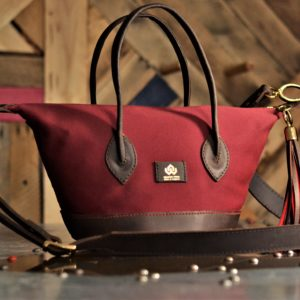 Red MG Mohair bucket bag