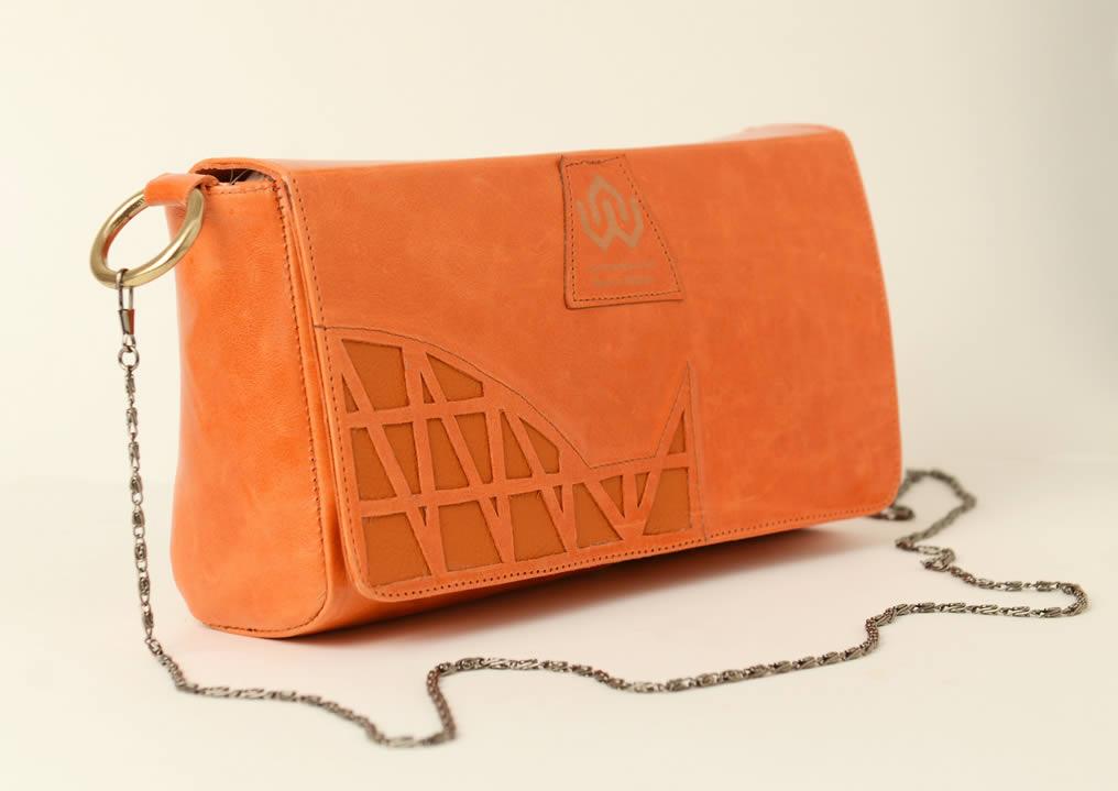 leather clutch and shoulder bag - shadia orange - pattern