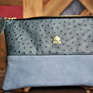 Blue Ostrich embossed clutch bag /purse