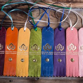 Group of coloured leather tags